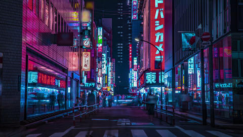 A night timelapse of the neon street at the downtown in... Stock Video Footage