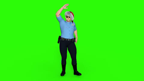 3d character policeman dancing disco, green background GIF