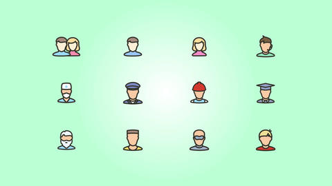 Animated People Job Icons Pack Plantilla de After Effects
