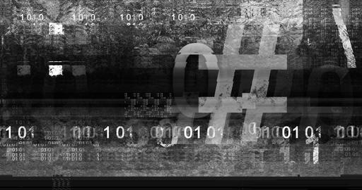 Text And Dirt Glitchy Overlay 2 - Binary Code Videos animados
