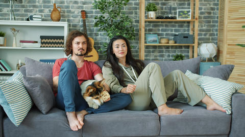 Asian girl and Caucasian guy watching TV at home playing with corgi dog Footage