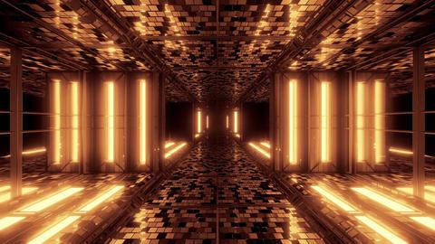 futuristic sci-fi space tunnel corridor with bricks texture 3d illustration Animation