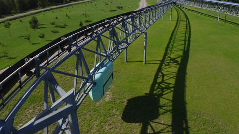 skyway vehicle drives along overpass railway aerial view Live Action