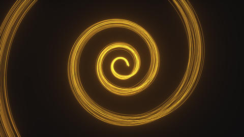 Golden light trails on black background. Particles are drawing spiral Animation
