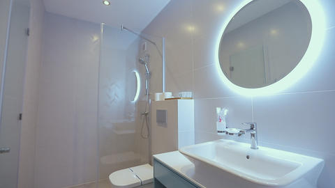 Home interior.bathroom in modern apartment Footage