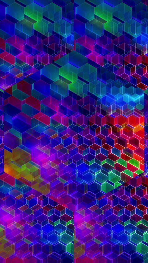 Colorful Winking Hexagons - Vertical 01 Animation