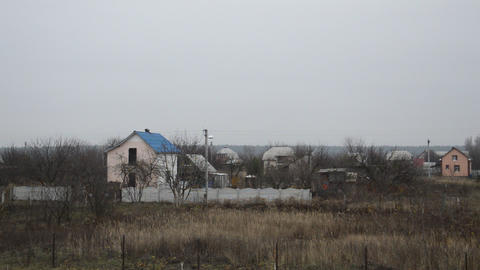 Panoramic view of the rural cottage village with houses Footage