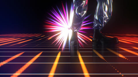 Retro-futuristic 80s dancing legs on Disco Neon Lights background Stage. Modern Animation