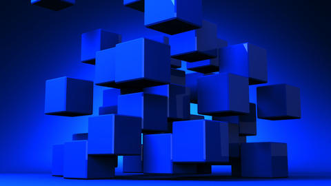 Blue Cube Abstract On Blue Background Animation