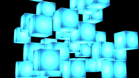 Blue Shining Cube Abstract On Black Background Animation
