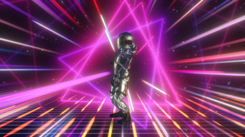 Retro-futuristic 80s CG Astronaut dancing on Disco Neon Lights background Stage Animation