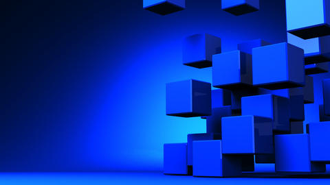 Loop Able Blue Cube Abstract On Blue Text Space Animation