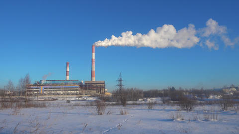 Industrial landscape. Thermal chimney of power station Footage