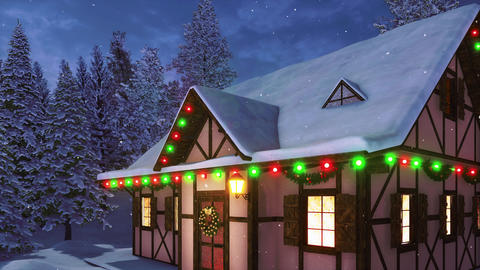 Rustic house with Christmas decorations at snowfall winter night Videos animados