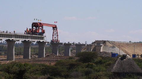 construction of the high speed train line in Kenya Nairobi Park, Real Time Live Action