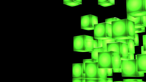 Loop Able Green Shining Cube Abstract On Black Text Space Animation