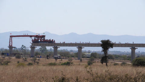 construction of the high speed train line in Kenya Nairobi Park, Real Time Footage