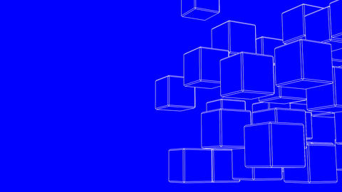 Loop Able White Wire Frame Cube Abstract On Blue Text Space Animation