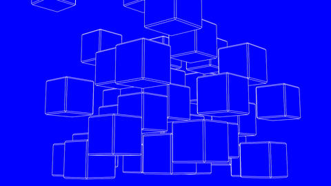 Loop Able White Wire Frame Cube Abstract On Blue Background Stock Video Footage