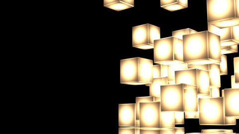 Loop Able Yellow Shining Cube Abstract On Black Text Space Stock Video Footage