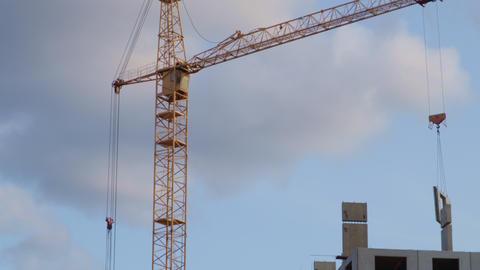 Construction Crane Against The Blue Sky Live Action