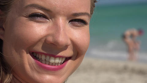 Woman Smiling at Beach Footage