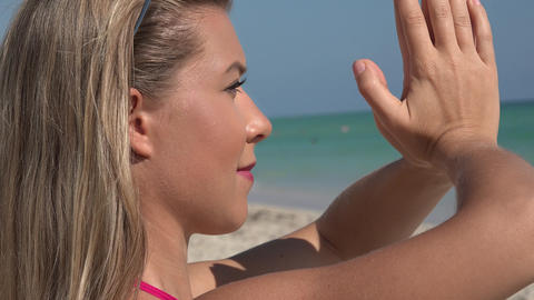 Woman Doing Yoga on Beach Footage