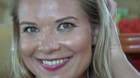 Smiling Blonde Woman Indoors Footage