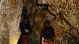 Limestone formations in a cave Footage