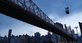 Nighttime Establishing Shot of Ed Koch Queensboro Bridge with Roosevelt Island T Footage