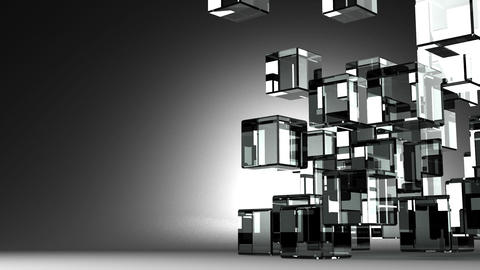 Loop Able Glass Cubes Abstract On Black Text Space Animation