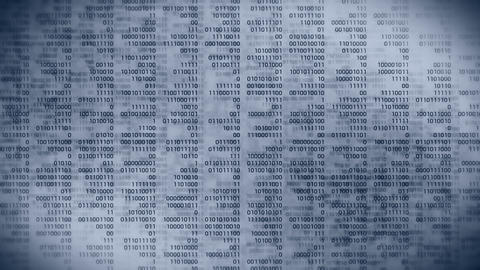Binary code gray background. Web online streaming with digital technology loop animation. Number Animation