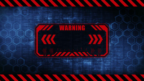 Warning message with copy space. Hexagon geometric design and binary numbers background. Digital CG動画