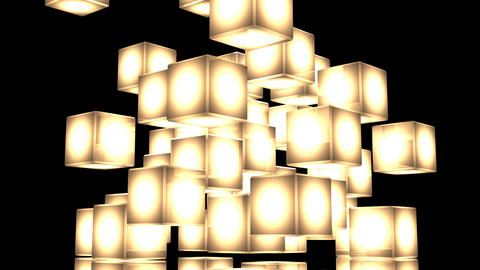 Yellow Shining Cube Abstract On Black Background Animation
