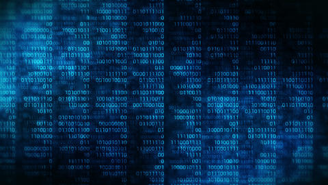 Binary code dark blue background. Web online streaming with digital technology loop animation. Animation