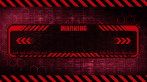 Warning message with copy space. Hexagon geometric design and binary numbers background. Digital Animation