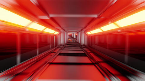 clean silver tunnel corridor with glowing lights 3d illustration motion Animation