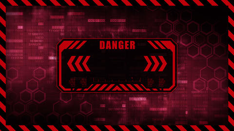 Danger message with copy space. Hexagon geometric design and binary numbers background. Digital Animation