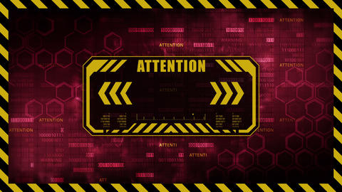 Attention message with copy space. Hexagon geometric design and binary numbers background. Digital CG動画