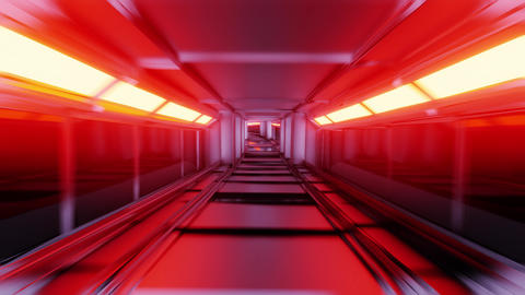clean golden tunnel corridor with glowing lights 3d illustration motion Animation