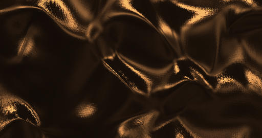 Gold sparkly silk background. Glamour satin texture 3D rendering loop 4k Animation