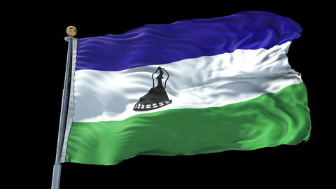 Lesotho animated flag pack in 3D and isolated background Animation