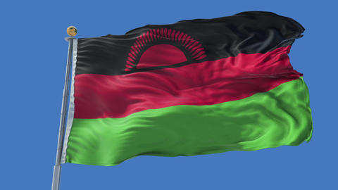 Malawi animated flag pack in 3D and isolated background Animation