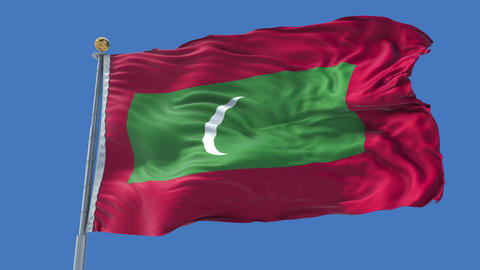 Maldives animated flag pack in 3D and isolated background Animation