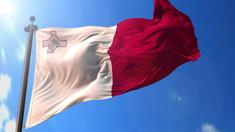 Malta animated flag pack in 3D and green screen Animation