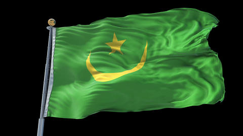 Mauritania animated flag pack in 3D and isolated background Animation