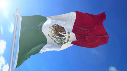 Mexico animated flag pack in 3D and isolated background Animation