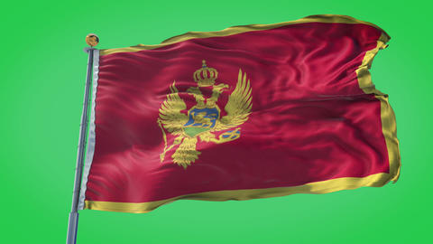Montenegro animated flag pack in 3D and green screen Animation