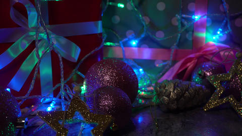 Sliding camera from left to right with view of Christmas... Stock Video Footage