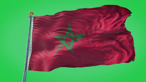 Morocco animated flag pack in 3D and green screen Animation